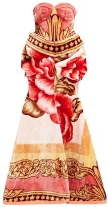 Marine Serre Sweetheart-bodice Floral-print Fleece Gown - Multi