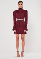 Missguided Burgundy High Neck Diamante Belted Mini Dress