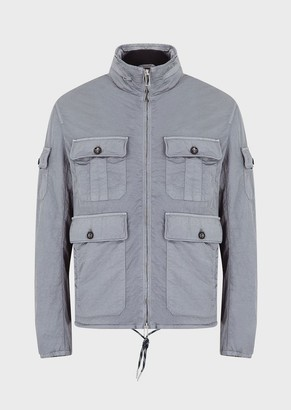 Emporio Armani Multi-Pocketed Jacket In Silky-Dyed Nylon