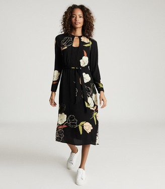 Reiss ARLEY FLORAL PRINTED MIDI DRESS Black