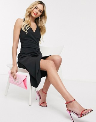 Lipsy wrap front pencil dress with cage back detail in black