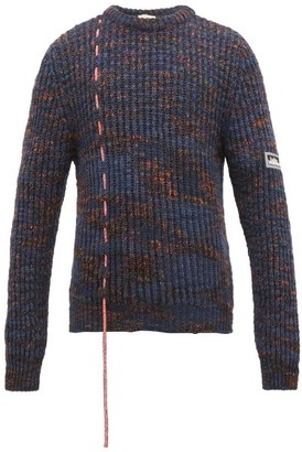 Aries Space-dye Ribbed-knit Sweater - Mens - Blue
