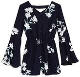Aqua Girls' Bell-Sleeve Floral Romper, Big Kid - 100% Exclusive