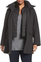 Ellen Tracy Soft Shell A-Line Raincoat with Inset Bib (Plus Size)
