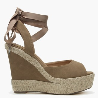 Df By Daniel Ribbie Tan Suedette Ribbon Tie Wedge Espadrilles