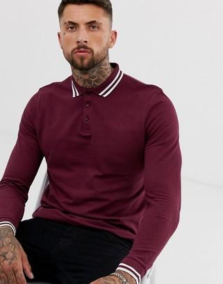 ASOS DESIGN long sleeve tipped pique polo shirt in burgundy