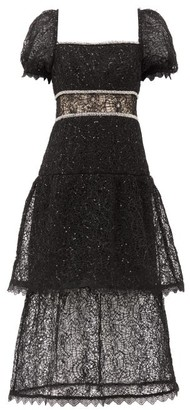 Self-Portrait Crystal And Sequin-embellished Layered Lace Dress - Black