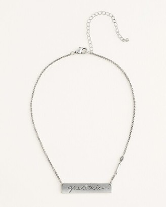 Chico's Silvertone Gratitude Necklace