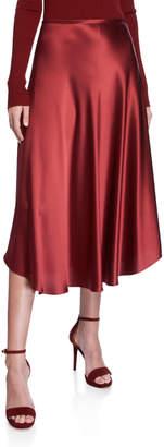 Sally LaPointe Flowy Satin Midi Skirt