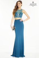 Alyce Paris - Two-Piece Sheer Halter Illusion Sheath Evening Gown with Intricately-Bejeweled Bodice 1126