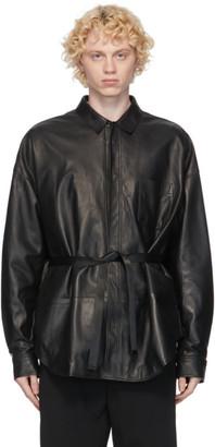 Juun.J Black Leather Shirt Jacket