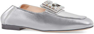 Gucci Madelyn Metallic Crystal Loafers