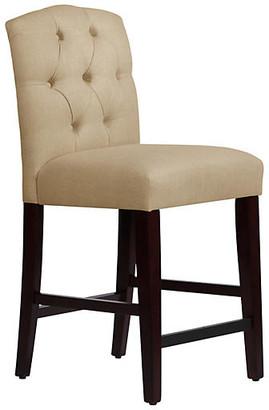 One Kings Lane Leo Tufted Counter Stool - Sandstone Linen - frame, espresso; upholstery, sandstone