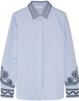 Tory Burch Keegan Embroidered Cotton-chambray Shirt - Blue