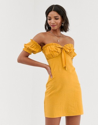 Asos Design DESIGN off shoulder mini sundress with tie-Yellow