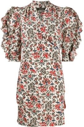 Isabel Marant ruffle-sleeve floral-print mini dress