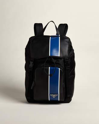 Prada Black & Blue Contrast Stripe Flap Backpack
