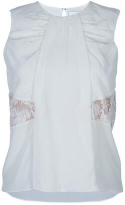 Prabal Gurung White Lace Insert Sleeveless Top S