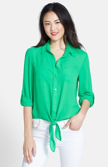 Chaus Tie Front Roll Sleeve Blouse