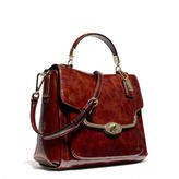 Coach Madison Small Sadie Flap Satchel In Patent Leather
