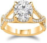 Houston Diamond District 1 Carat t.w. 14K Yellow Gold Round Split Shank Twisting Eternity Diamond Engagement Ring SI2-I1