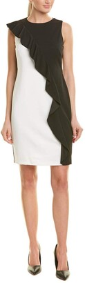 Adrianna Papell Women's Plus Size Colorblocked Knit Crepe Sheath