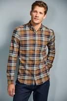 Mens Next Navy/Orange Brushed Flannel Check Long Sleeve Shirt - Blue