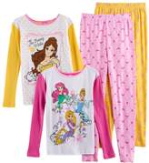 Disney Disney's Belle, Ariel, Cinderella & Rapunzel Girls 4-10 4-pc. Tops & Bottoms Pajama Set