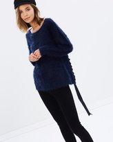 MinkPink Fluffy Knit Ribbon Top