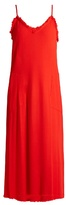 Raquel Allegra V-neck frayed crepe slip dress