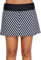 Zesica Women's Bikini Bottoms Black - Black & White Chevron Skirted Bikini Bottoms - Women & Plus