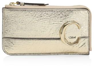 Chloé C Metallic Leather Zip Card Holder