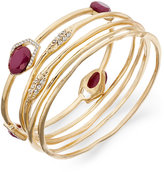 INC International Concepts Gold-Tone 5-Pc. Set Stone and Crystal Bangle Bracelets, Only at Macy's