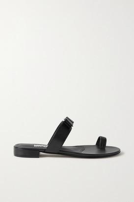 Salvatore Ferragamo Louisa Bow-embellished Leather Slides - Black