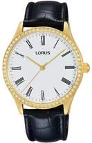 Lorus Women's 35mm Black Leather Band Steel Case Quartz Analog Watch Rg246lx9