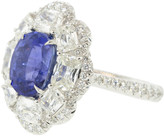 Saboo Fine Jewels Oval 5.23 ct Blue Sapphire and White Gold Diamond Ring