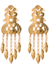 Josie Natori Hammered Gold Crown Earrings