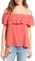 Sanctuary Women's Misha Eyelet Embroidered Off The Shoulder Top