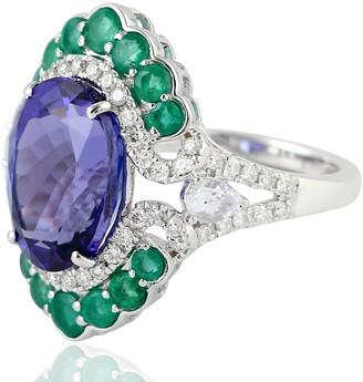 Artisan 18Kt White Gold Indian Diamond Emerald Blue Sapphire Tanzanite Women Ring