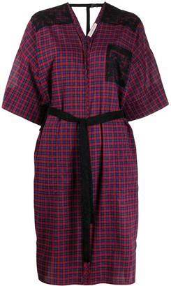 A.F.Vandevorst Plaid Tie-Waist Midi Dress