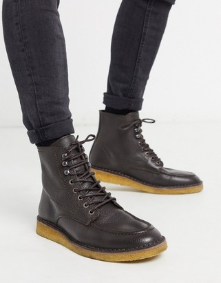 Selected scotch grain crepe sole lace up boots in brown