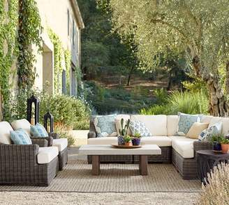 Pottery Barn Roll-Arm Sectional Armless Chair Sunbrella®; Cushion Slipcover
