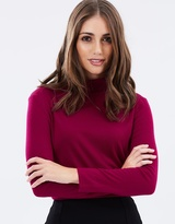 Privilege Roll Neck Split Hem Skivvy Top