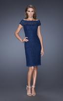 La Femme 20462 Lace Off-Shoulder Column Dress