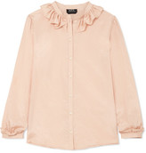 A.P.C. Josephine Ruffled Cotton And Silk-blend Voile Blouse