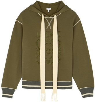 Loewe Army green logo-embroidered cotton sweatshirt