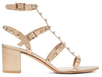 Valentino Rockstud Block-heel Leather Sandals - Womens - Gold