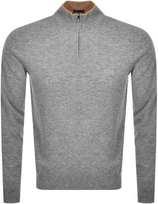 Boss Business BOSS Barlo M Half Zip Knit Jumper Grey
