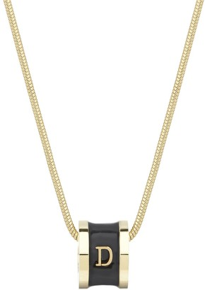 Initial D Necklace 18Ct Gold Plated With Black Enamel