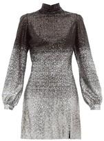 Raquel Diniz Elle Ombre-sequinned Balloon-sleeve Dress - Womens - Black Silver